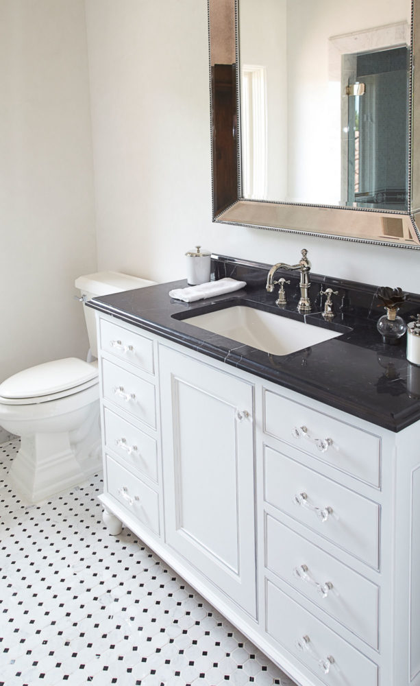 Bathroom Vanity with Black and White Theme